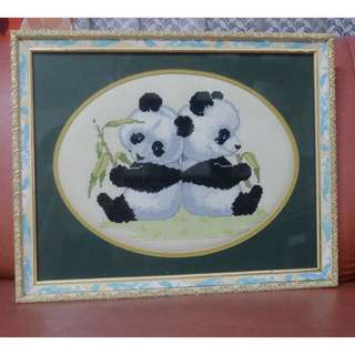 Cross Stitch with Frame Kids Bedroom Frame Wall Frame Panda
