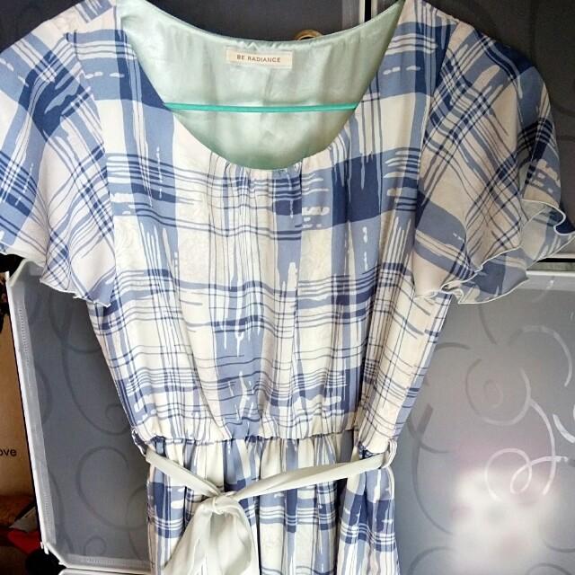 雪紡紗藍格子縮腰洋裝(原價2000日本製 #幫你省運費
