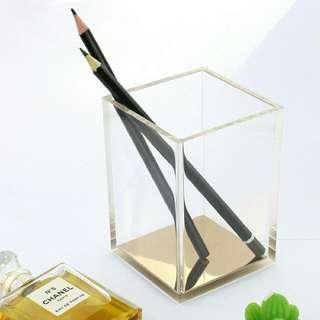 Acrylic Pencil Holder (Gold) Stationery Organiser