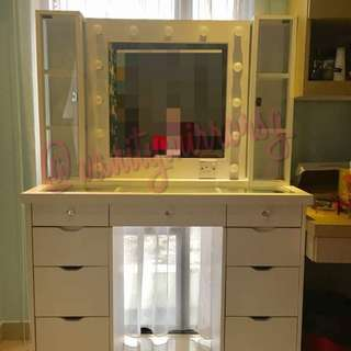 9 Drawer Glass Top Desk & Vanity Mirror + Glass Door Tier