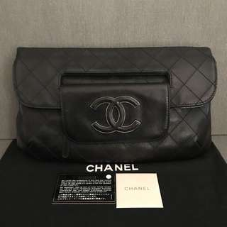 CHANEL Black Quilted Lambskin Leather Hampton CC Foldover Clutch Bag