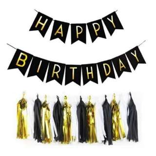 Black with Gold Happy Birthday Bunting Banner & 15 Tassels - sold as a package