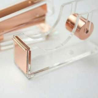 Rose Gold Acrylic Tape Dispenser / Rubber Tape Holder Copper
