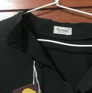 Kemeja Lengan panjang hitam brand Japan