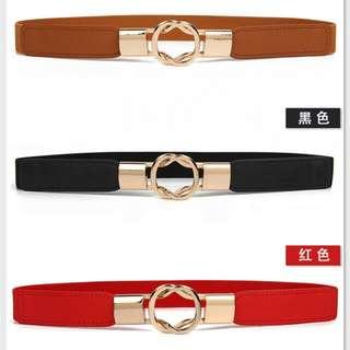 Garter stretch belt gold interlock