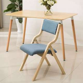 布藝餐桌椅 藍色 可摺 Dining Room Chairs