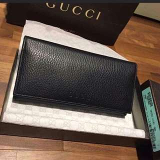 Gucci荔枝紋黑色長夾