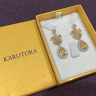 Karutora Cubic Zirconia Dangling Earrings Formal Wedding