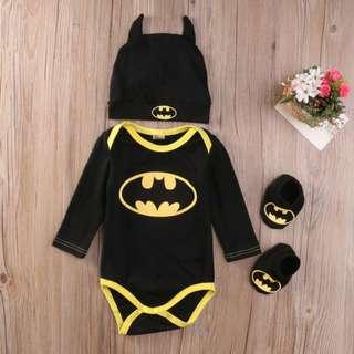 Baby Boys Batman Romper+Shoes+Hat 3pcs Set