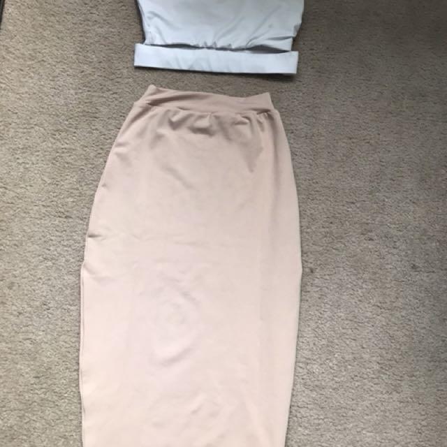 2 piece off shoulder crop top and 3/4 length skirt