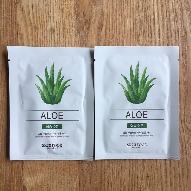 2 x SKINFOOD Korean Aloe Mask sheet (Unopened)