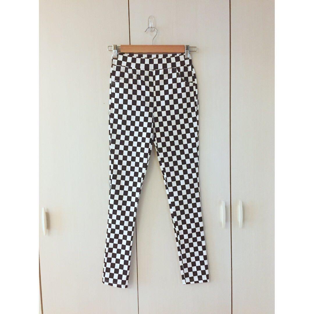 全新格紋挺版顯瘦彈力修飾褲3#長褲特賣