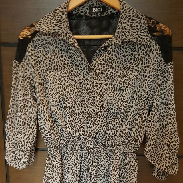 豹紋後背蕾絲雪紡長版襯衫