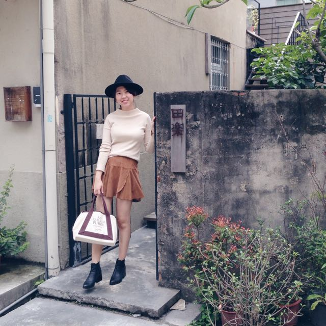 正韓 麂皮層次短裙