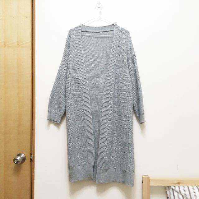 全新。長版灰色針織外套/針織罩衫 #外套特賣