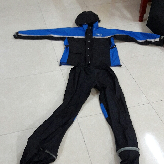 兩件式雨衣 含鞋套 XL 藍黑