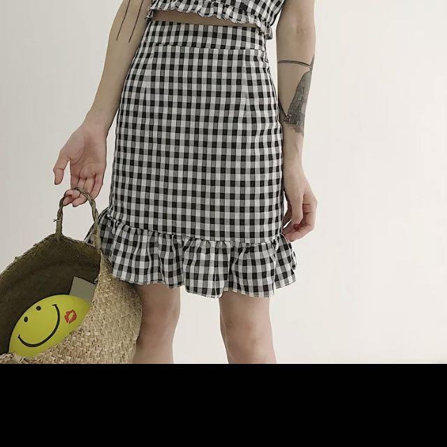 格子 裙 短裙 荷葉邊