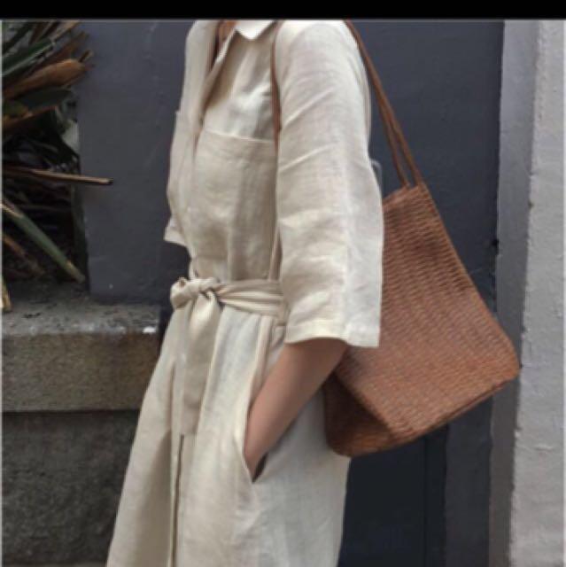 韓 棉麻 襯衫長洋 排扣洋裝