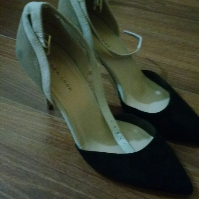 Black and beige court shoes