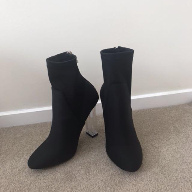 Black lyrca sock boots