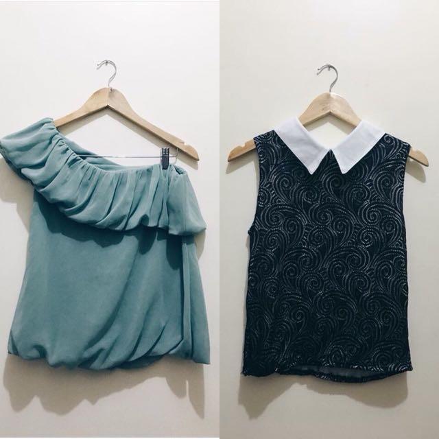 Black Semi-Formal Sleeveless & Green One Shoulder Top
