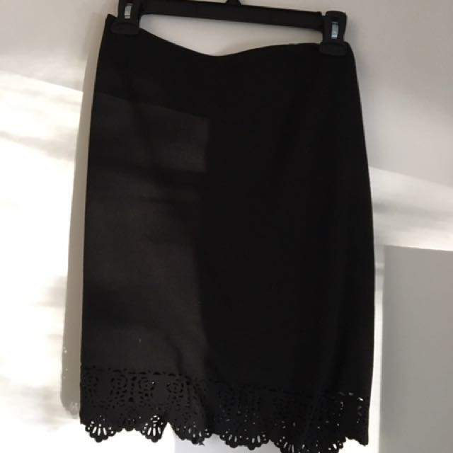 Black skirt with lace at the bottom
