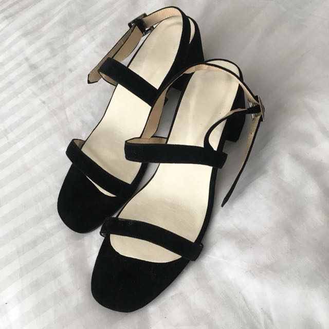 Black suede block heels - SALE