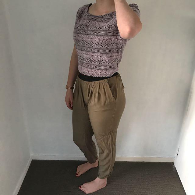 Black/Pink top & Khaki pants