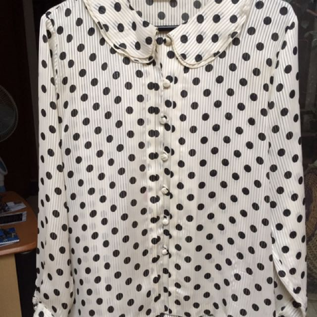 Blouse White Polkadot