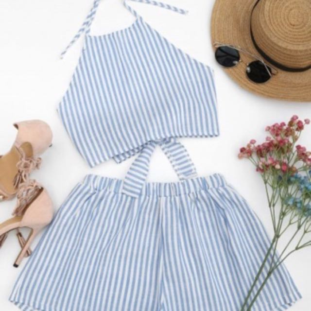 Blue/ pink stripe set