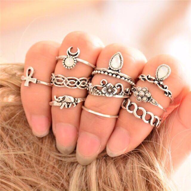 Bohemian 10pcs set of rings-gold/silver
