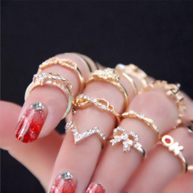 Bohemian gold ring set-7pcs
