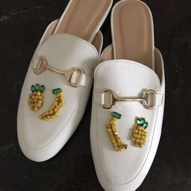 Boohoo White Fruit Loafer Mules