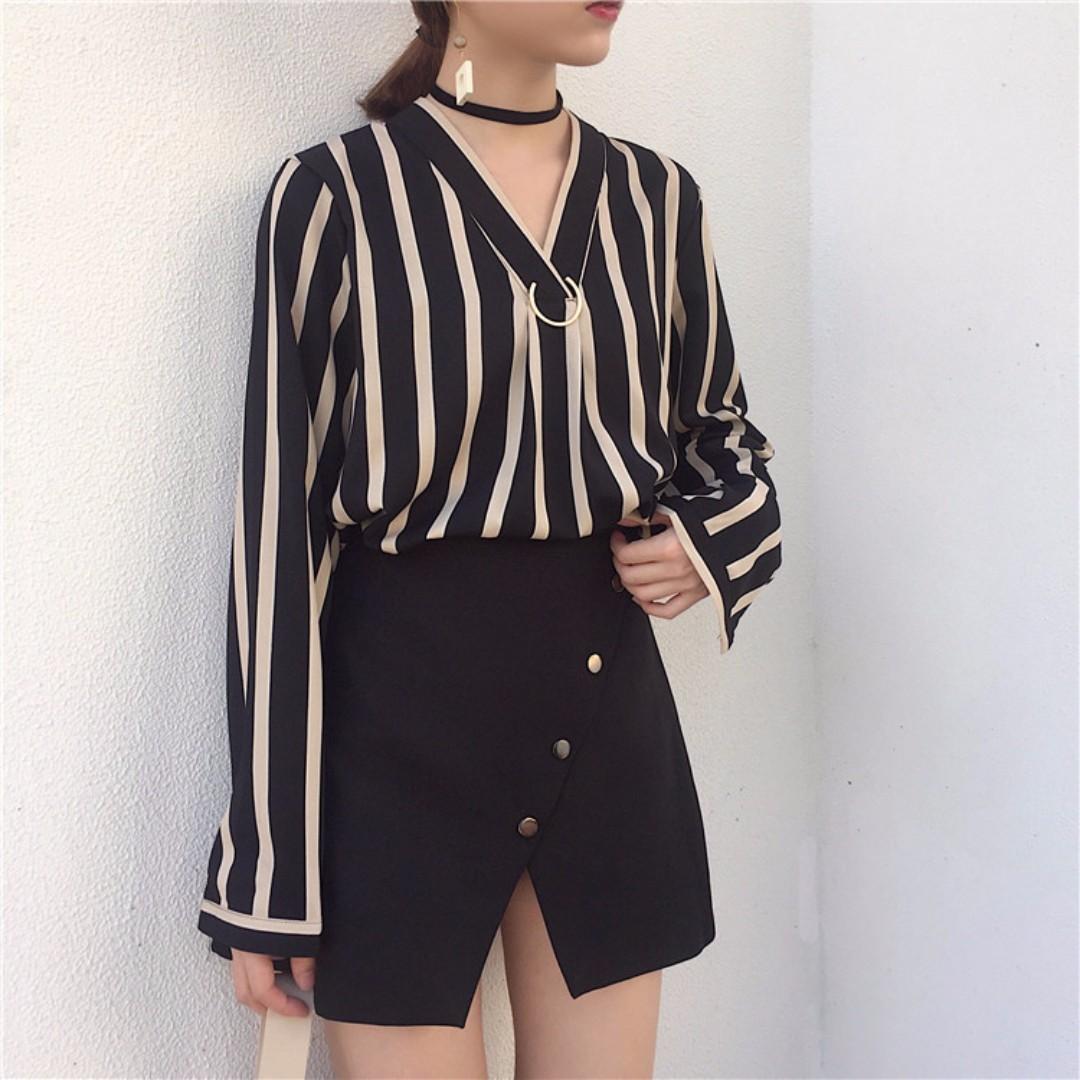 韓國chic初秋氣質V領條紋襯衫(兩色)
