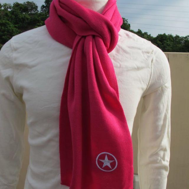 降🔥Converse星星桃紅色圍巾⭐️