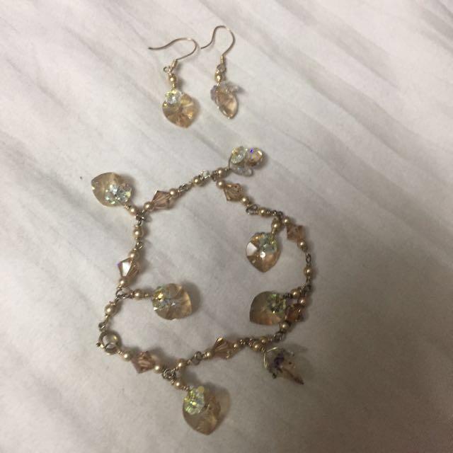 Crystal bracelet and earrings