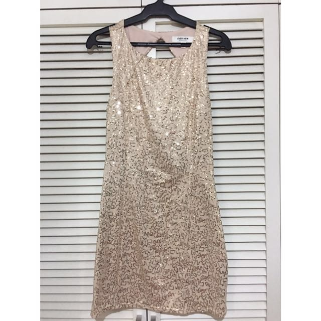 Ever New Beige Sequined Dress