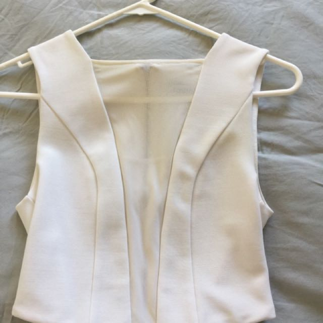 Forever New White Mesh Crop Top