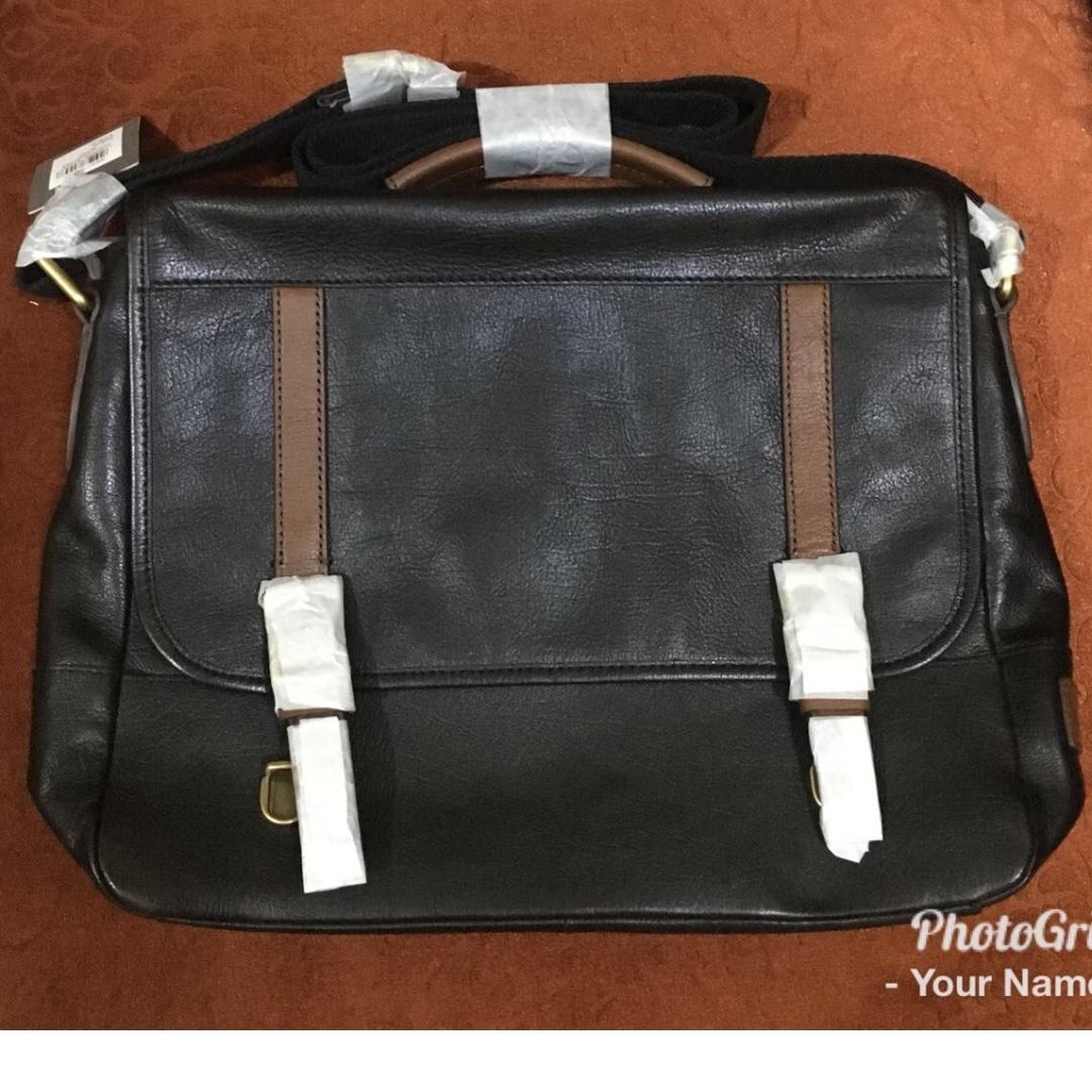 fossil men evan commuter black full leather