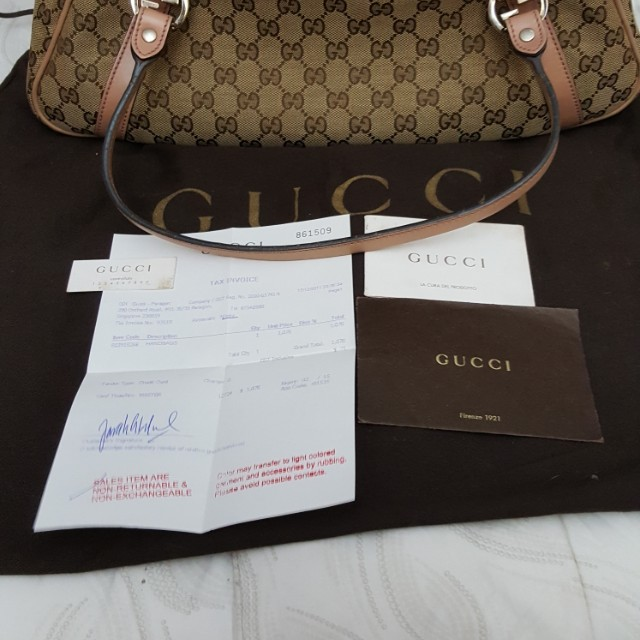 0596ad40 Authentic Gucci Beige/Pink GG Canvas Abbey Medium Tote Bag