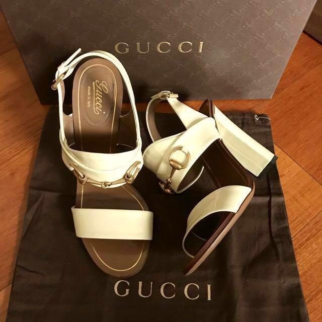 cff4dbd7fb5 GUCCI patent Leather Horsebit Block Heel Sandals