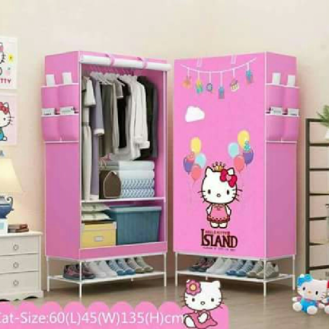 hello kitty wardrobe w shoerack home furniture on. Black Bedroom Furniture Sets. Home Design Ideas