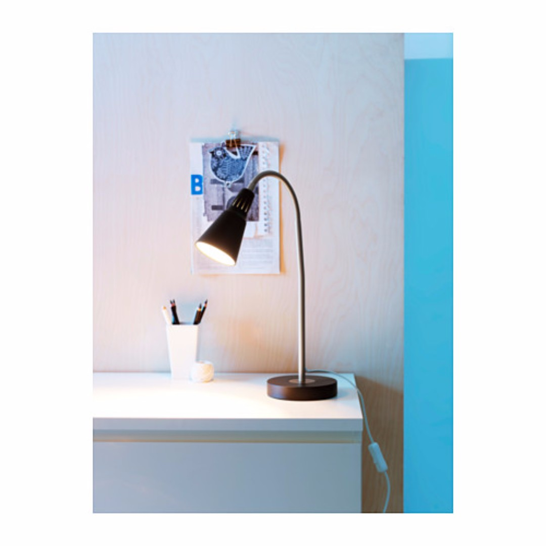 IKEA KVART Lampu kerja warna hitam tinggi 44 cm