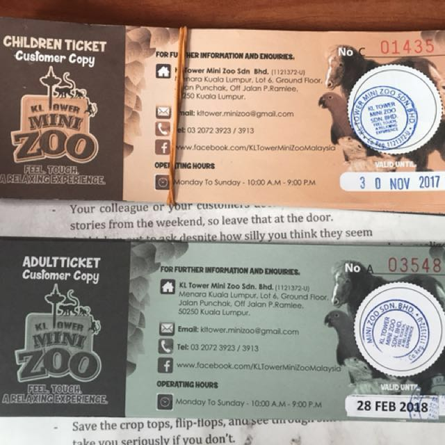KL Tower Mini Zoo Ticket (RM5 off)