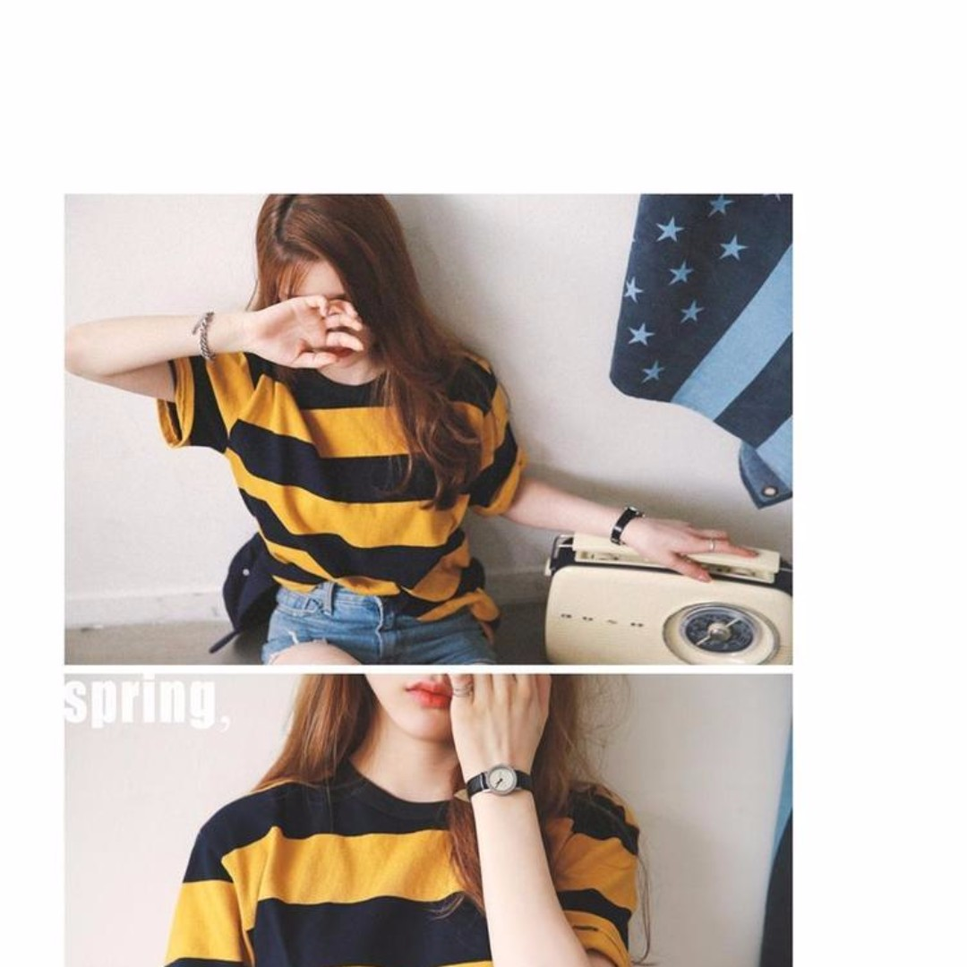 d7ac0a7ea52af0 PO  korean ulzzang yellow and black striped crew neck t-shirt ...