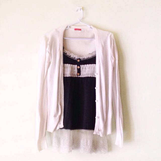 Lace Camisole + White Cardigan