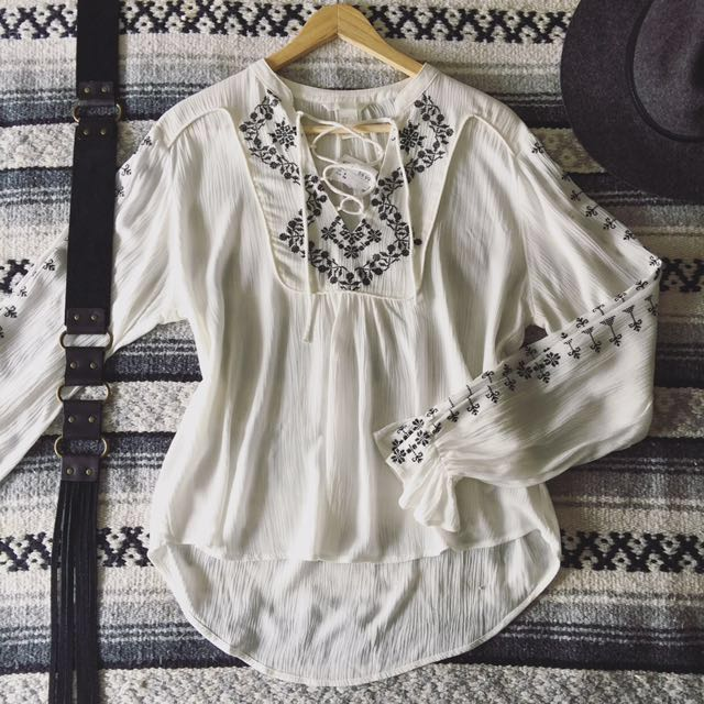 Lace Up Embroidered Peasant Top