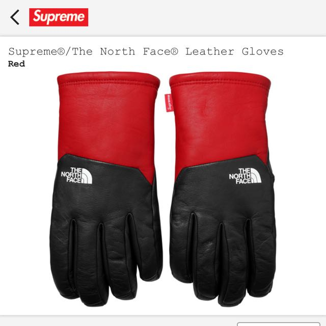 471d1e35703117 Large - Supreme The North Face Leather Gloves - Red, Men's Fashion ...