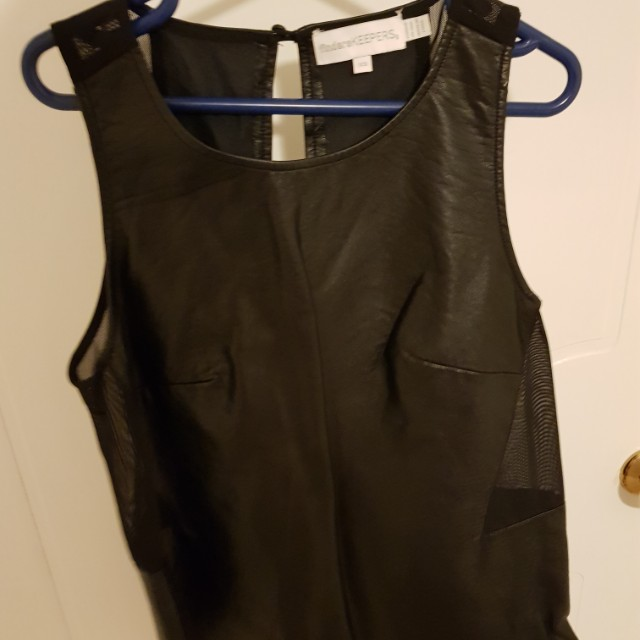 Leather look top. Size 8