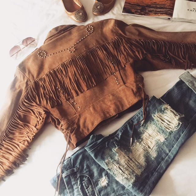 Leather Western Style Crop Jacket